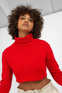 Bright red wool cropped turtleneck jumper7