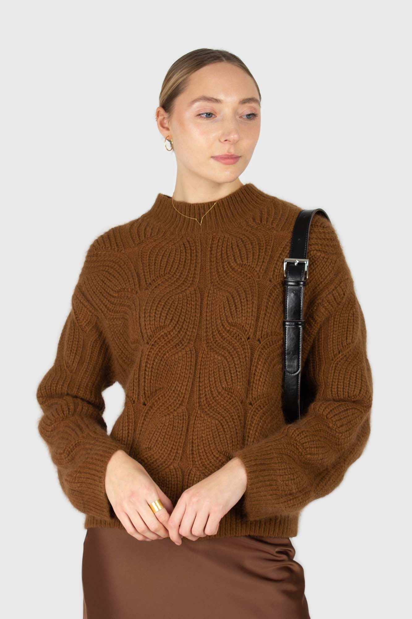 Brown large cable angora jumper1