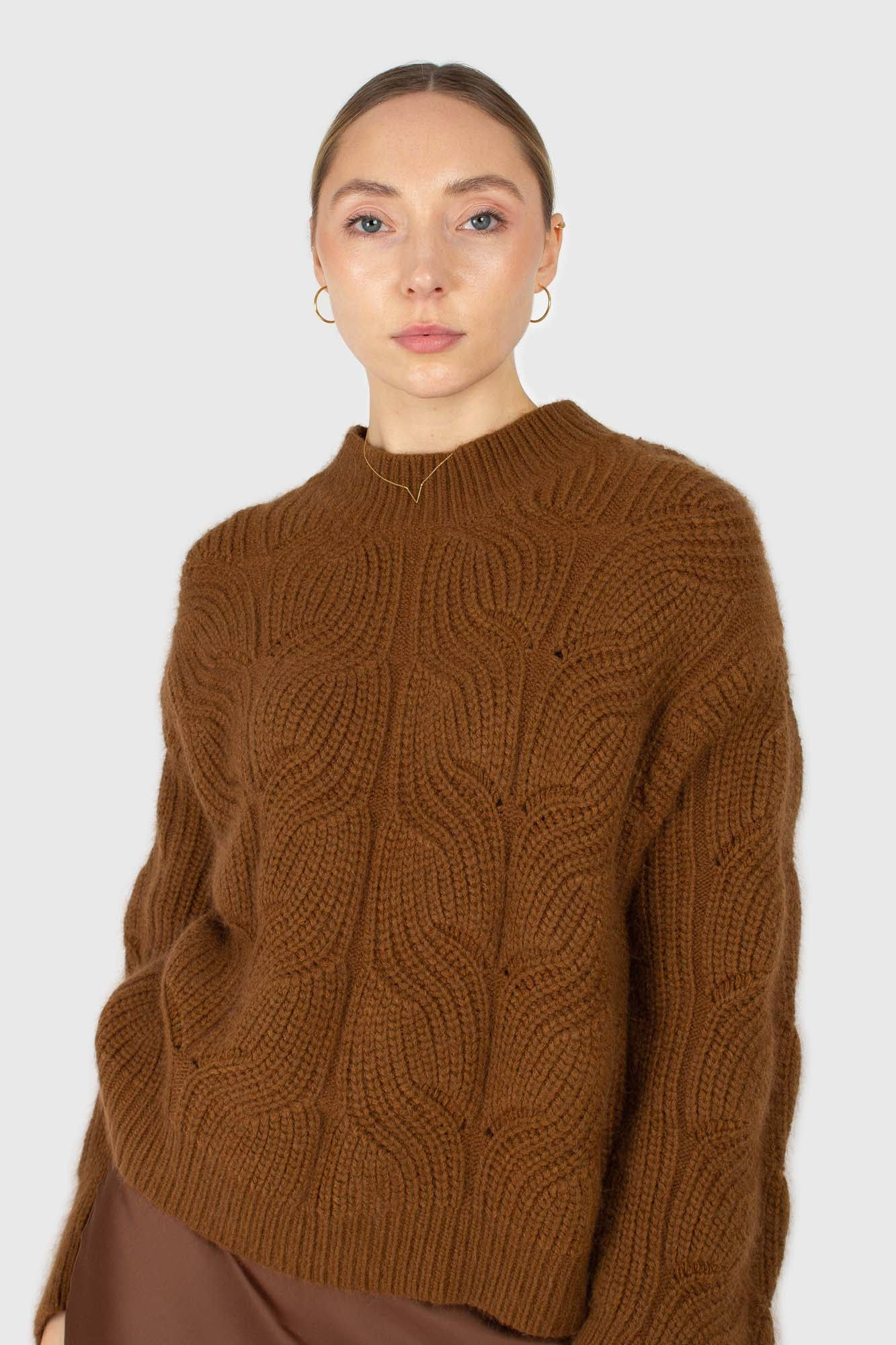Brown large cable angora jumper2