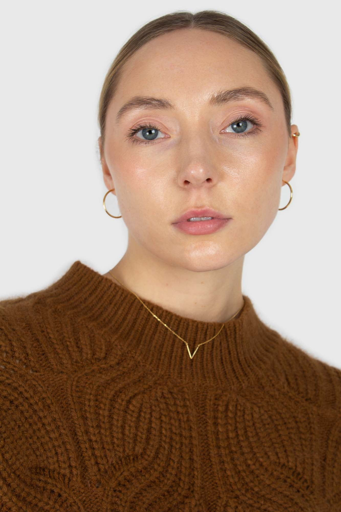 Brown large cable angora jumper3