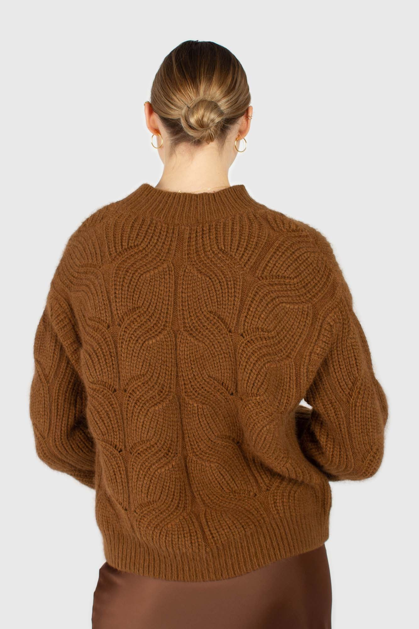 Brown large cable angora jumper4