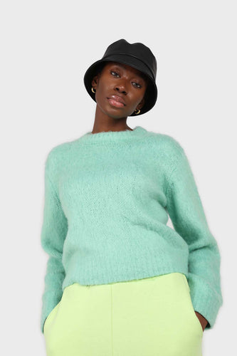 Mint brush textured crew neck jumper1sx