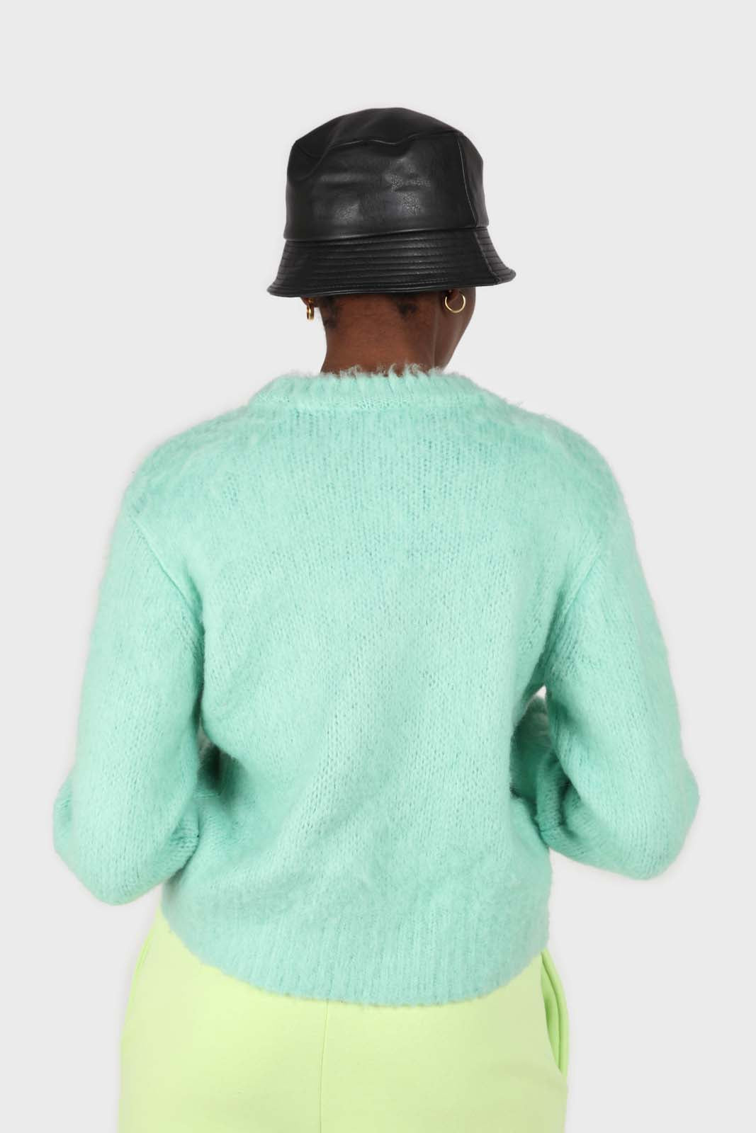 Mint brush textured crew neck jumper2