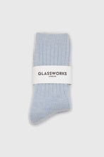 Load image into Gallery viewer, Sky blue large ribbed angora socks2