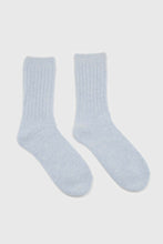 Load image into Gallery viewer, Sky blue large ribbed angora socks3