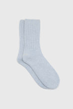 Load image into Gallery viewer, Sky blue large ribbed angora socks1sx