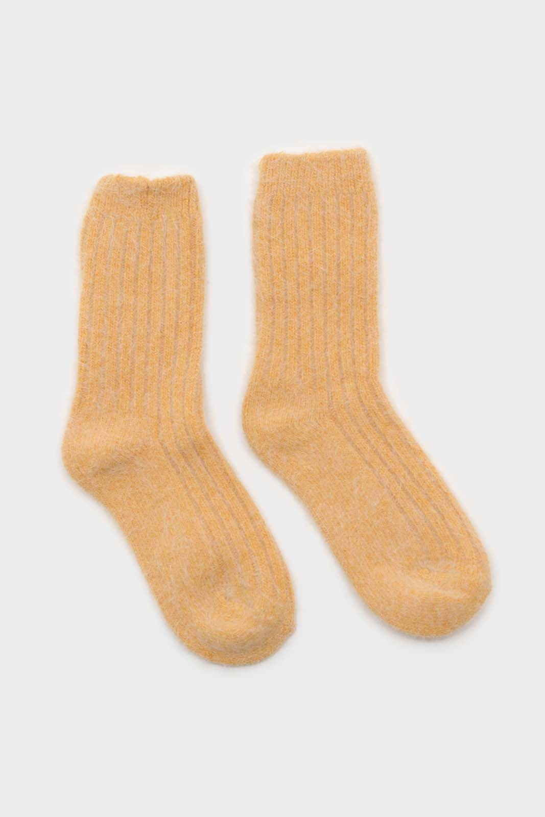 Mustard large ribbed angora socks2