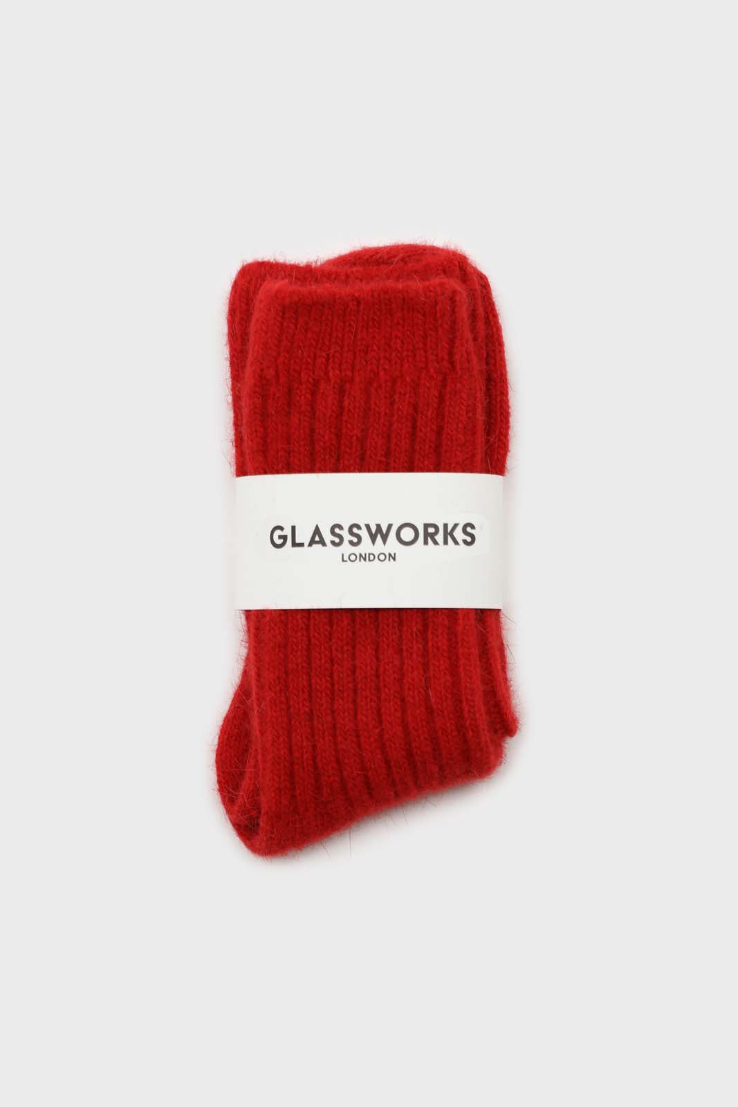 Red large ribbed angora socks2