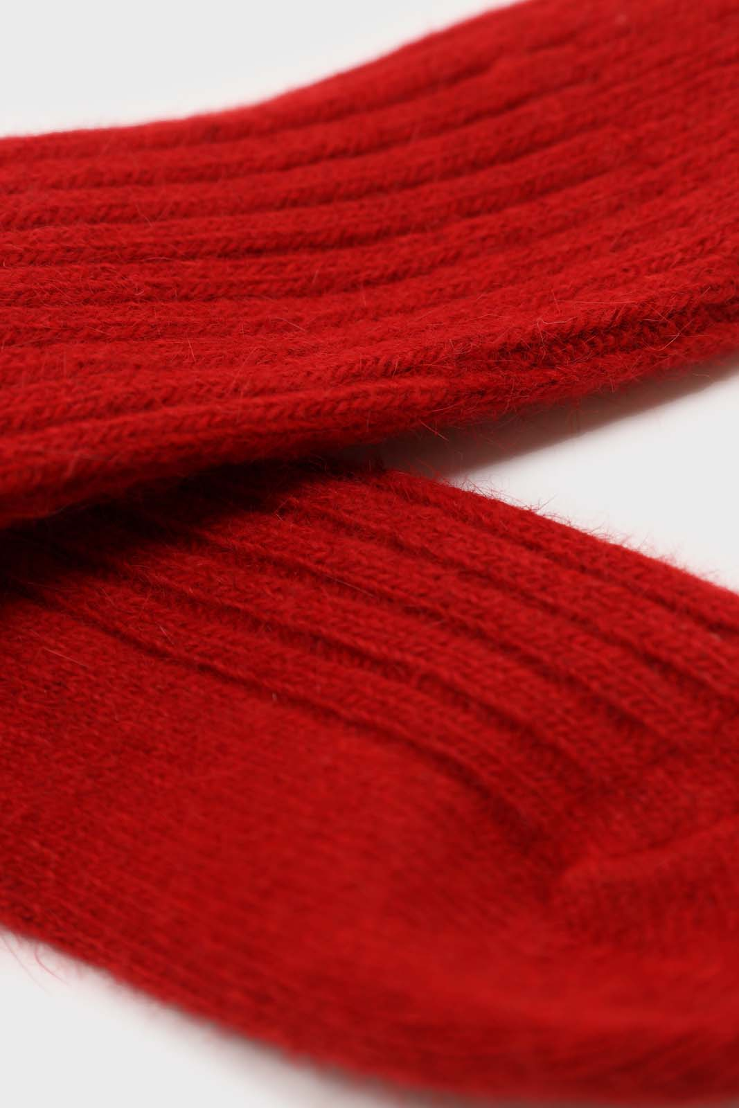 Red large ribbed angora socks4
