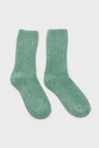 Green large ribbed angora socks3