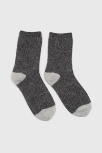 Charcoal and ivory furry color block angora socks3