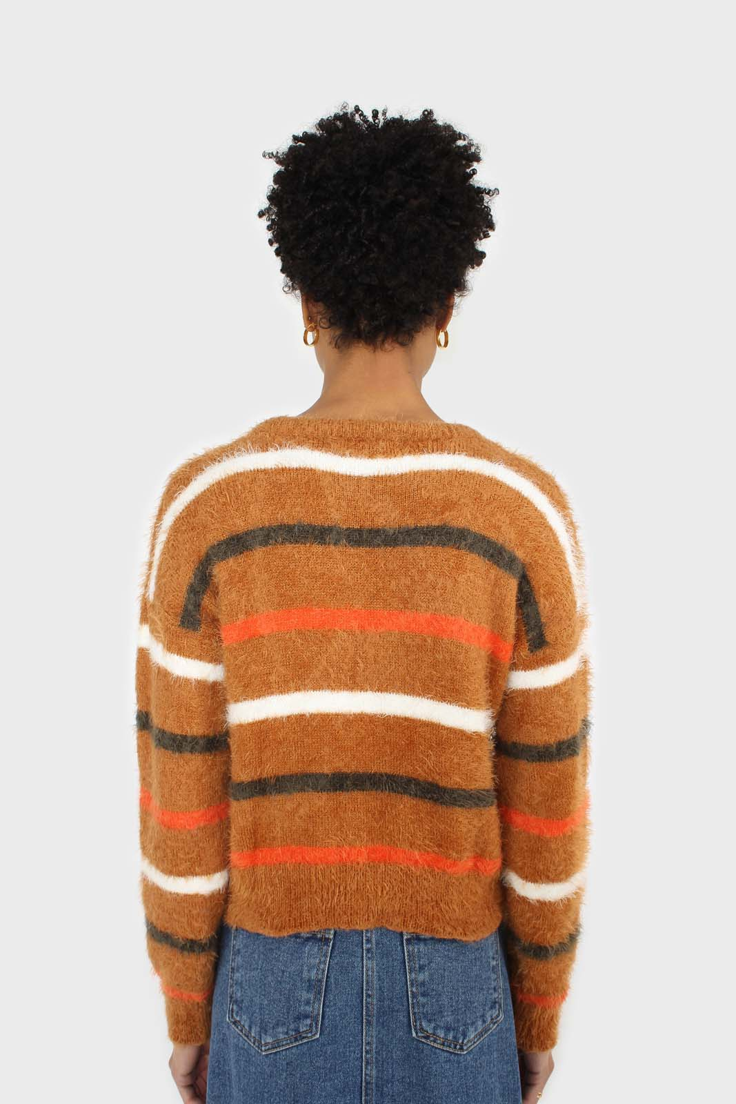 Brown and orange multi striped fuzzy jumper 4