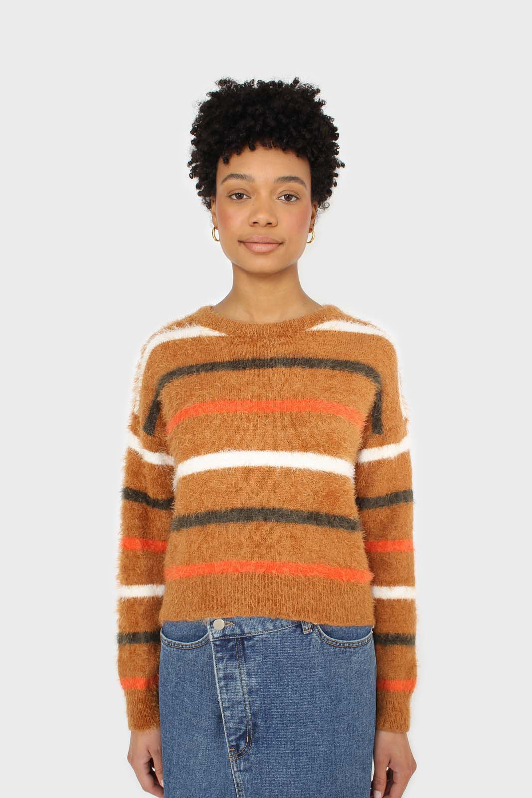 Brown and orange multi striped fuzzy jumper 5