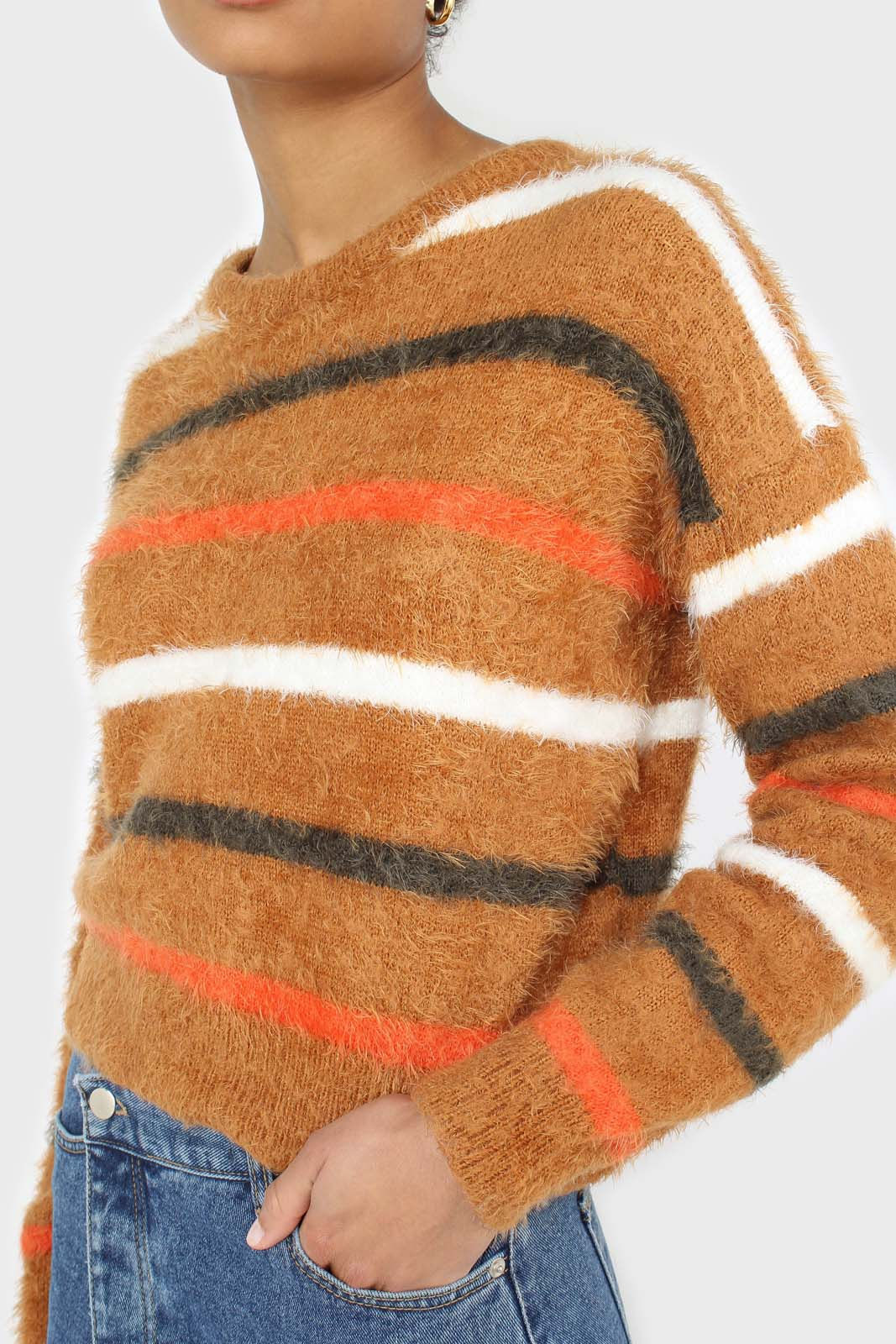 Brown and orange multi striped fuzzy jumper 6