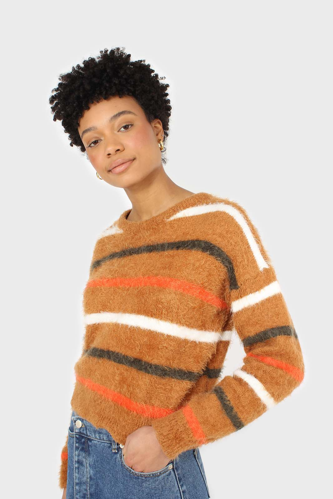 Brown and orange multi striped fuzzy jumper sx