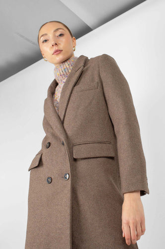 Brown double breasted wool long coat1