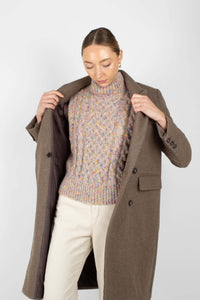 Brown double breasted wool long coat2