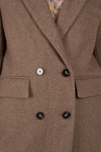 Brown double breasted wool long coat3