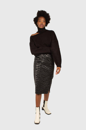 Charcoal vegan horse hair and leather pencil skirt1