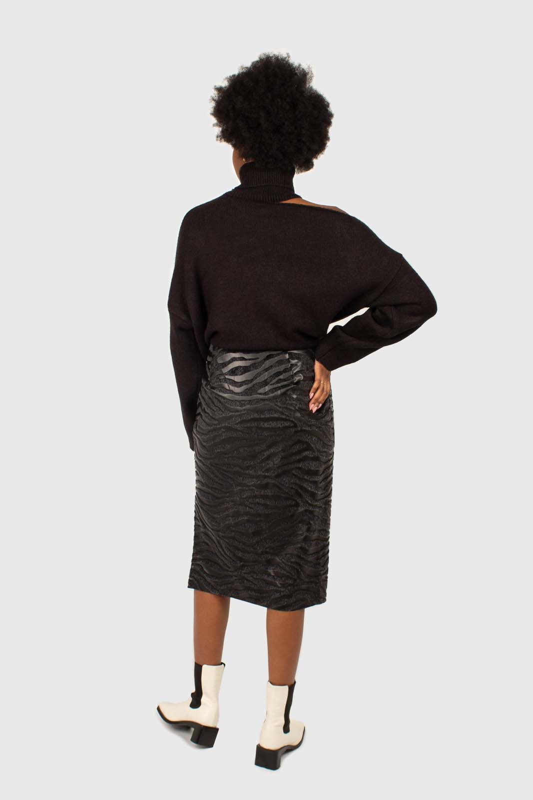 Charcoal vegan horse hair and leather pencil skirt2