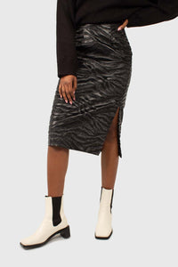 Charcoal vegan horse hair and leather pencil skirt3