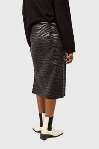 Charcoal vegan horse hair and leather pencil skirt4
