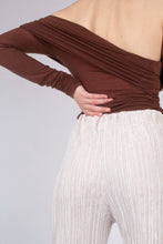 Load image into Gallery viewer, 22211_Brown off shoulder long sleeve jersey top_MCBBA1