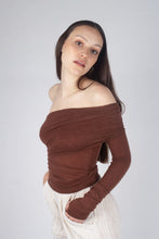 Load image into Gallery viewer, 22211_Brown off shoulder long sleeve jersey top_MCSBA1