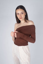 Load image into Gallery viewer, 22211_Brown off shoulder long sleeve jersey top_MCSBA2
