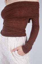 Load image into Gallery viewer, 22211_Brown off shoulder long sleeve jersey top_MCSBA3