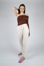 Load image into Gallery viewer, 22211_Brown off shoulder long sleeve jersey top_MFFBA1