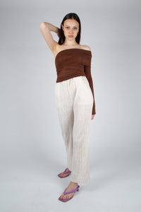 22211_Brown off shoulder long sleeve jersey top_MFFBA1