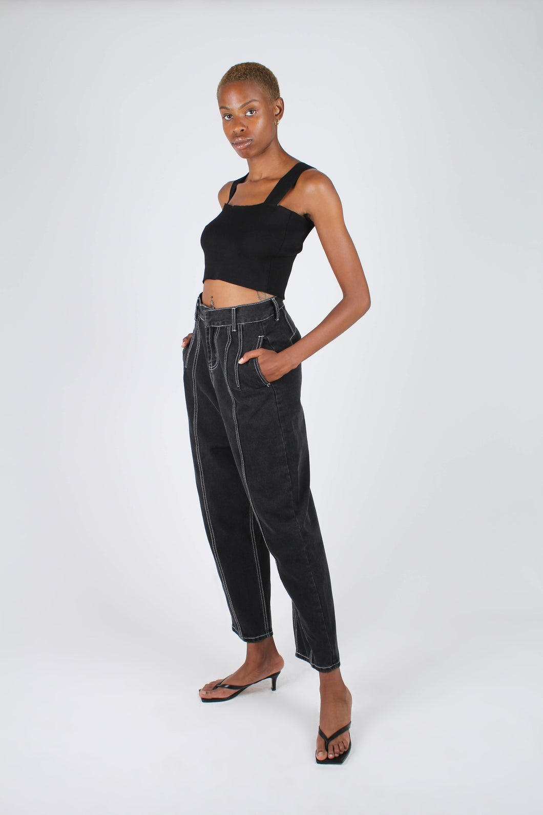 Washed black and white contrast stitch loose fit trousers1