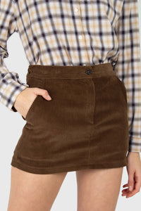 Brown corduroy mini skirt1