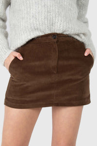 Brown corduroy mini skirt4