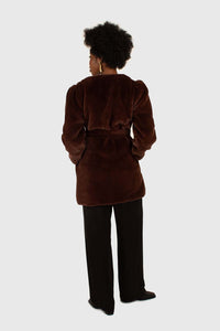 Brown vegan mink belted half coat10