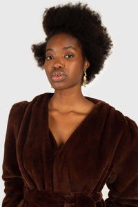 Brown vegan mink belted half coat11