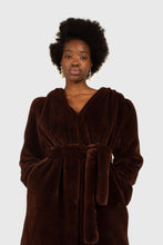 Load image into Gallery viewer, Brown vegan mink belted half coat1