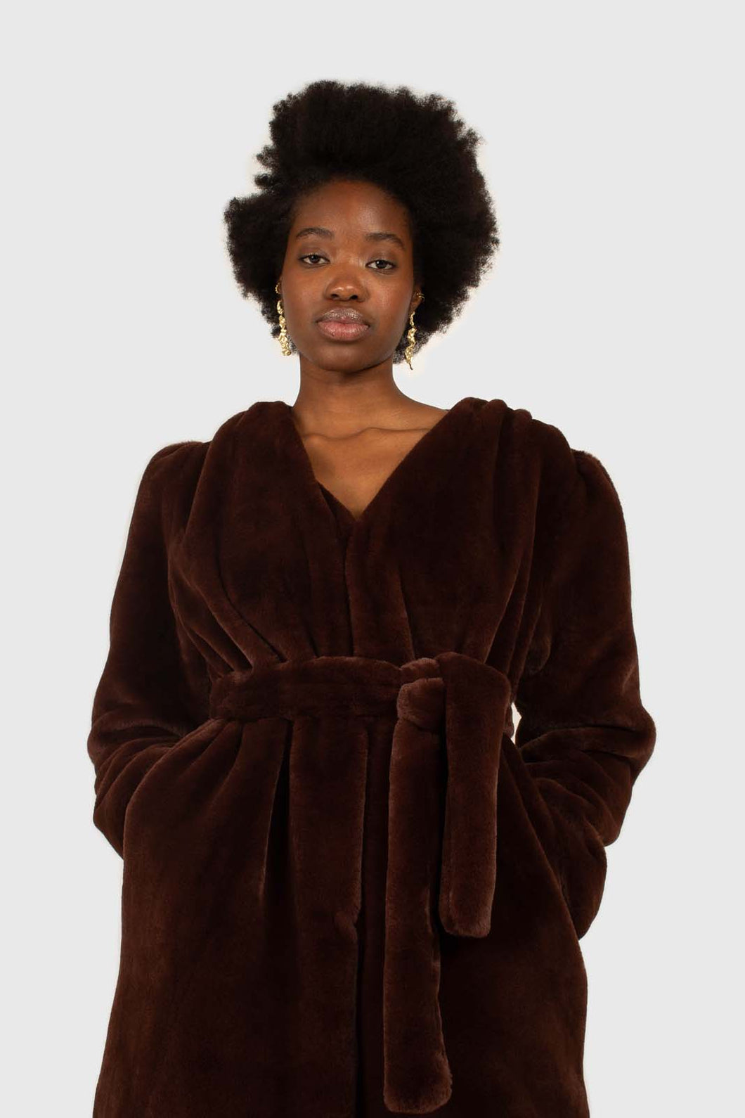 Brown vegan mink belted half coat1