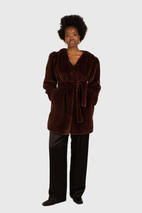 Brown vegan mink belted half coat2