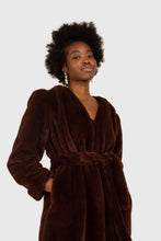 Load image into Gallery viewer, Brown vegan mink belted half coat3