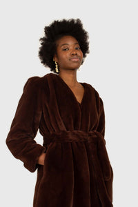 Brown vegan mink belted half coat3