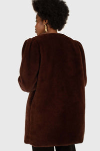 Brown vegan mink belted half coat4