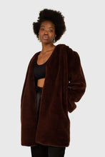 Load image into Gallery viewer, Brown vegan mink belted half coat5