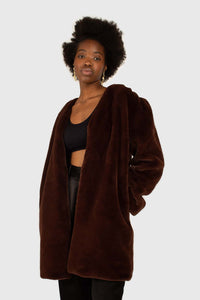 Brown vegan mink belted half coat5