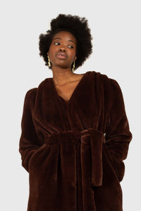 Brown vegan mink belted half coat7