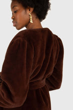 Load image into Gallery viewer, Brown vegan mink belted half coat8