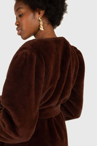 Brown vegan mink belted half coat8