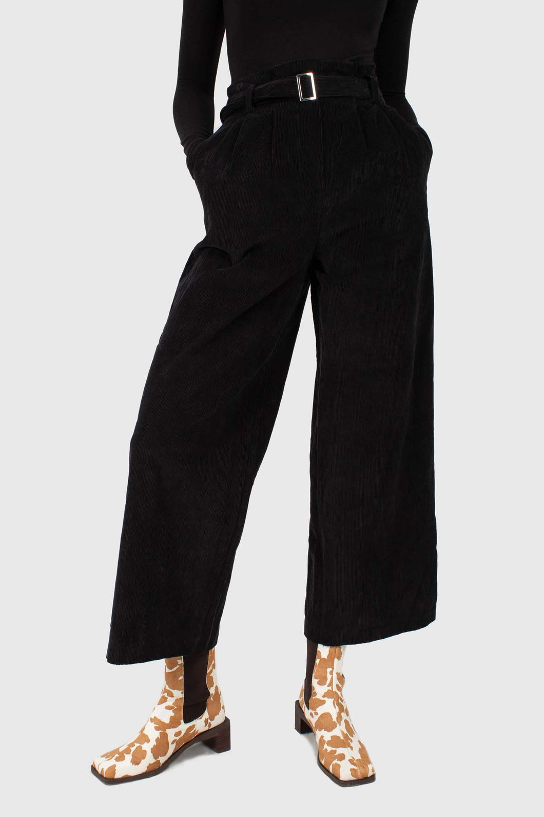 Black high waisted belted corduroy trousers1