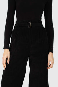 Black high waisted belted corduroy trousers3